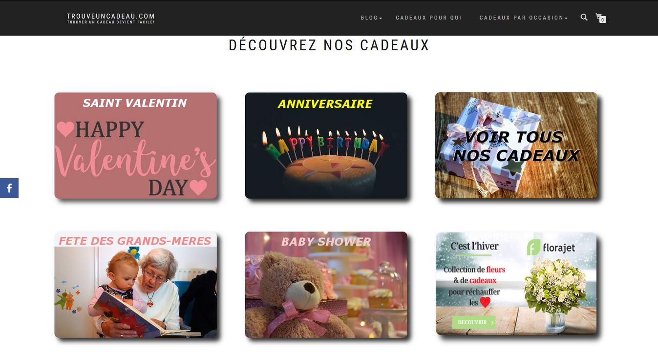 Trouveuncadeau.com : portail e-commerce offrant une sélection de cadeau à offrir pour toutes les occasions